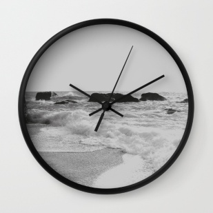greek-seascape-black-and-grey-sea-rocks-ionia-island-lefkada-wall-clocks