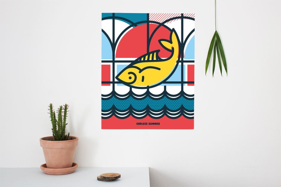 Yellow fish-Greek Island Poster